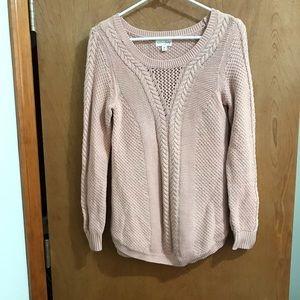 Maison Jules Dusty Rose Open Knit Sweater Medium
